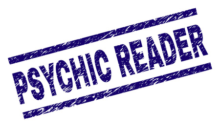PSYCHIC READER seal print with distress style. Blue vector rubber print of PSYCHIC READER label with unclean texture. Text tag is placed between parallel lines.