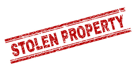 STOLEN PROPERTY seal print with distress texture. Red vector rubber print of STOLEN PROPERTY tag with retro texture. Text tag is placed between double parallel lines. Illustration