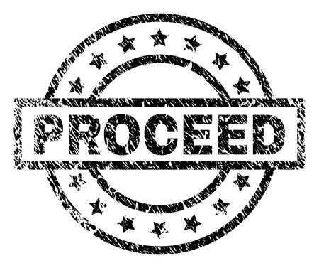 PROCEED stamp seal watermark with distress style. Designed with rectangle, circles and stars. Black vector rubber print of PROCEED tag with corroded texture.