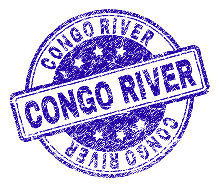 CONGO RIVER stamp seal imprint with grunge style. Designed with rounded rectangles and circles. Blue vector rubber print of CONGO RIVER text with grunge texture. Foto de archivo - 116319997
