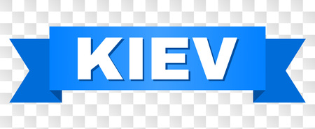 KIEV text on a ribbon. Designed with white title and blue stripe. Vector banner with KIEV tag on a transparent background. Illustration