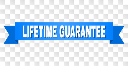LIFETIME GUARANTEE text on a ribbon. Designed with white caption and blue tape. Vector banner with LIFETIME GUARANTEE tag on a transparent background. Stock Vector - 125549534