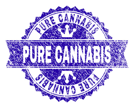 PURE CANNABIS rosette stamp imitation with grunge style. Designed with round rosette, ribbon and small crowns. Blue vector rubber watermark of PURE CANNABIS title with grunge style.