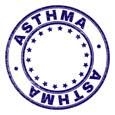 ASTHMA stamp seal imprint with grunge texture. Designed with circles and stars. Blue vector rubber print of ASTHMA tag with dirty texture.