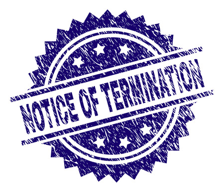 NOTICE OF TERMINATION stamp seal watermark with distress style. Blue vector rubber print of NOTICE OF TERMINATION tag with grunge texture.
