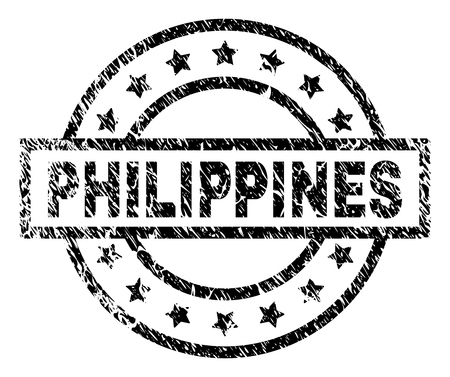 PHILIPPINES stamp seal watermark with distress style. Designed with rectangle, circles and stars. Black vector rubber print of PHILIPPINES label with dirty texture.