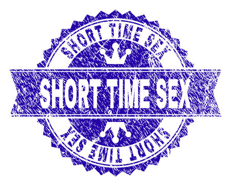 SHORT TIME SEX rosette stamp watermark with distress style. Designed with round rosette, ribbon and small crowns. Blue vector rubber watermark of SHORT TIME SEX text with dirty style. Ilustração