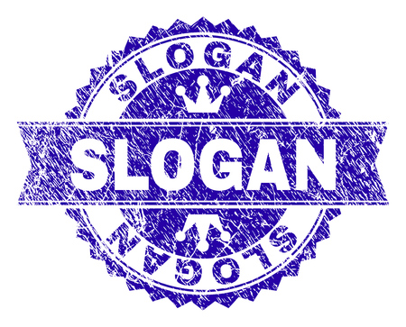 SLOGAN rosette stamp watermark with grunge style. Designed with round rosette, ribbon and small crowns. Blue vector rubber watermark of SLOGAN title with grunge style.