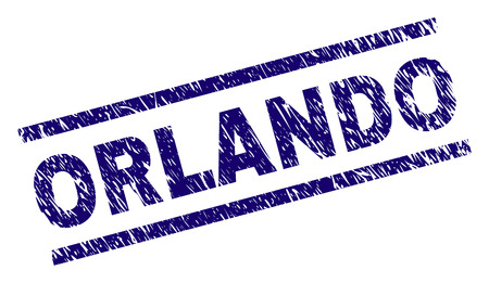 ORLANDO seal stamp with grunge style. Blue vector rubber print of ORLANDO title with grunge texture. Text title is placed between parallel lines.