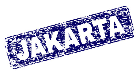 JAKARTA stamp seal print with distress texture. Seal shape is a rounded rectangle with frame. Blue vector rubber print of JAKARTA caption with unclean style.