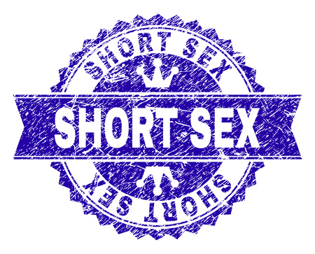 SHORT SEX rosette stamp seal watermark with grunge style. Designed with round rosette, ribbon and small crowns. Blue vector rubber watermark of SHORT SEX title with grunge style. Illustration
