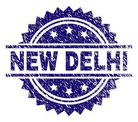 NEW DELHI stamp seal watermark with distress style. Blue vector rubber print of NEW DELHI caption with retro texture. Illustration
