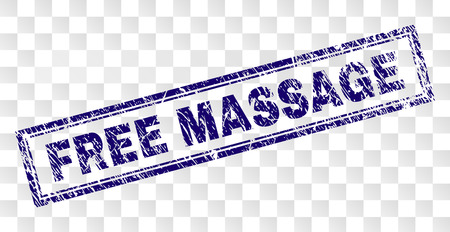 FREE MASSAGE stamp seal print with scratched style and double framed rectangle shape. Stamp is placed on a transparent background. Blue vector rubber print of FREE MASSAGE text with scratched texture. Illustration