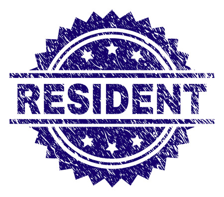 RESIDENT stamp seal watermark with distress style. Blue vector rubber print of RESIDENT title with scratched texture. Ilustrace