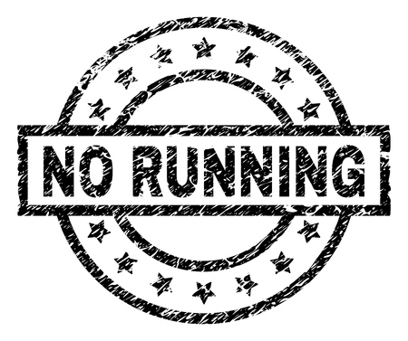 NO RUNNING stamp seal watermark with distress style. Designed with rectangle, circles and stars. Black vector rubber print of NO RUNNING label with corroded texture.