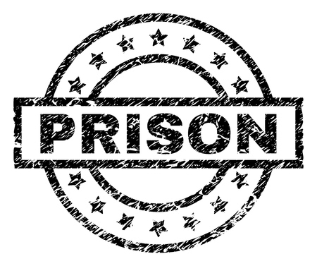PRISON stamp seal watermark with distress style. Designed with rectangle, circles and stars. Black vector rubber print of PRISON tag with dust texture. Illustration