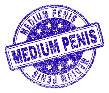 MEDIUM PENIS stamp seal imprint with grunge texture. Designed with rounded rectangles and circles. Blue vector rubber print of MEDIUM PENIS title with corroded texture.