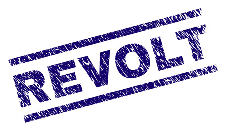 REVOLT seal print with scratced style. Blue vector rubber print of REVOLT caption with grunge texture. Text label is placed between parallel lines.