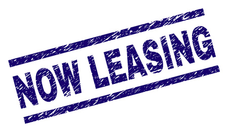 NOW LEASING seal print with scratced style. Blue vector rubber print of NOW LEASING label with scratched texture. Text label is placed between parallel lines. 向量圖像