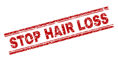 STOP HAIR LOSS seal print with corroded texture. Red vector rubber print of STOP HAIR LOSS title with dust texture. Text tag is placed between double parallel lines.