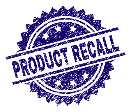 PRODUCT RECALL stamp seal watermark with distress style. Blue vector rubber print of PRODUCT RECALL title with corroded texture. Çizim