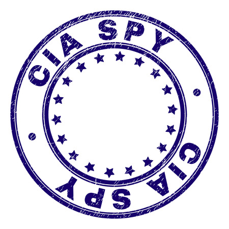 CIA SPY stamp seal watermark with distress texture. Designed with round shapes and stars. Blue vector rubber print of CIA SPY label with retro texture.