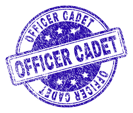 OFFICER CADET stamp seal watermark with grunge texture. Designed with rounded rectangles and circles. Blue vector rubber print of OFFICER CADET title with corroded texture.