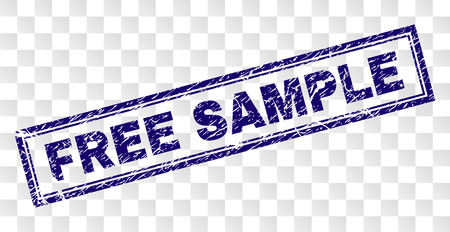 FREE SAMPLE stamp seal print with dirty style and double framed rectangle shape. Stamp is placed on a transparent background. Blue vector rubber print of FREE SAMPLE tag with grunge texture. Stok Fotoğraf - 125549723