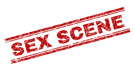 SEX SCENE seal print with grunge texture. Red vector rubber print of SEX SCENE tag with unclean texture. Text tag is placed between double parallel lines.