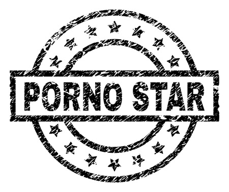 PORNO STAR stamp seal watermark with distress style. Designed with rectangle, circles and stars. Black vector rubber print of PORNO STAR tag with scratched texture.