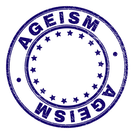 AGEISM stamp seal imprint with grunge style. Designed with circles and stars. Blue vector rubber print of AGEISM label with grunge texture.