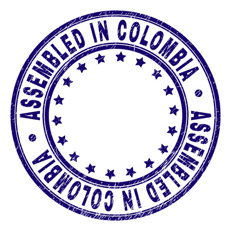 ASSEMBLED IN COLOMBIA stamp seal imprint with grunge texture. Designed with circles and stars. Blue vector rubber print of ASSEMBLED IN COLOMBIA label with retro texture.