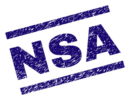 NSA seal print with scratced style. Blue vector rubber print of NSA text with dust texture. Text title is placed between parallel lines. Illustration