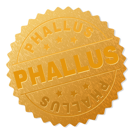 PHALLUS gold stamp reward. Vector golden medal with PHALLUS text. Text labels are placed between parallel lines and on circle. Golden skin has metallic texture.