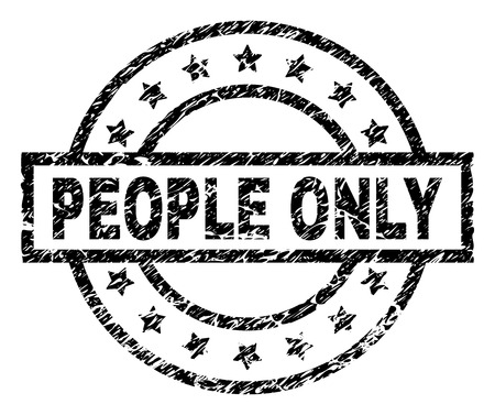 PEOPLE ONLY stamp seal watermark with distress style. Designed with rectangle, circles and stars. Black vector rubber print of PEOPLE ONLY caption with retro texture. Иллюстрация