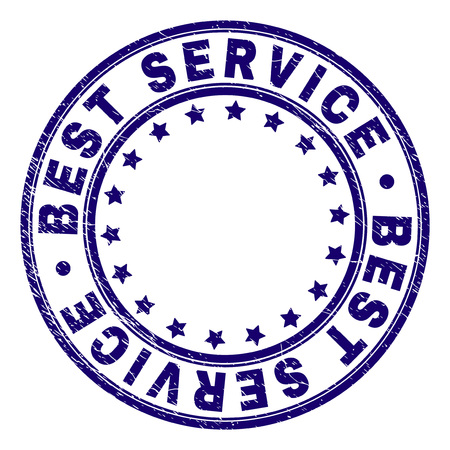 BEST SERVICE stamp seal watermark with grunge texture. Designed with round shapes and stars. Blue vector rubber print of BEST SERVICE title with dirty texture.