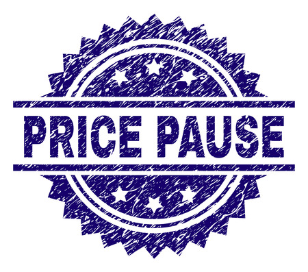 PRICE PAUSE stamp seal watermark with distress style. Blue vector rubber print of PRICE PAUSE caption with dust texture.