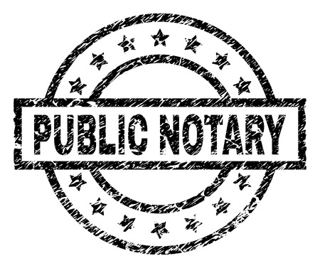 PUBLIC NOTARY stamp seal watermark with distress style. Designed with rectangle, circles and stars. Black vector rubber print of PUBLIC NOTARY text with grunge texture.