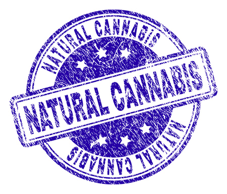 NATURAL CANNABIS stamp seal watermark with distress texture. Designed with rounded rectangles and circles. Blue vector rubber print of NATURAL CANNABIS caption with corroded texture. Иллюстрация