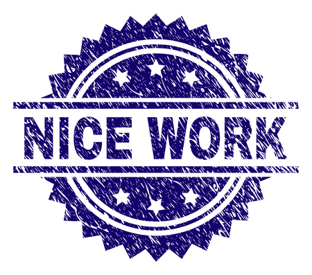 NICE WORK stamp seal watermark with distress style. Blue vector rubber print of NICE WORK caption with grunge texture.