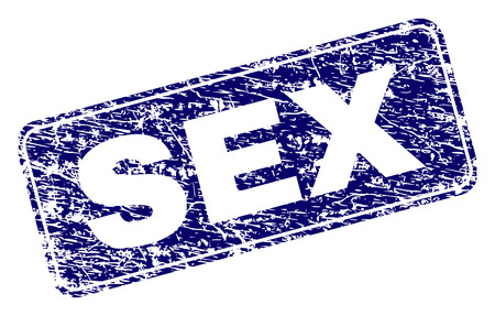 SEX stamp seal print with grunge style. Seal shape is a rounded rectangle with frame. Blue vector rubber print of SEX tag with grunge style. Illustration