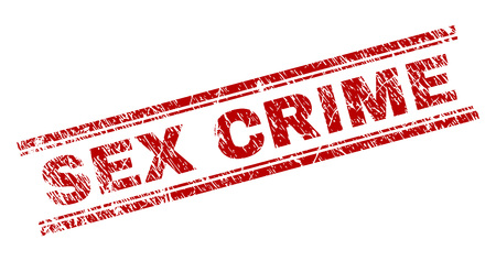 SEX CRIME seal print with grunge effect. Red vector rubber print of SEX CRIME label with grunge texture. Text label is placed between double parallel lines.