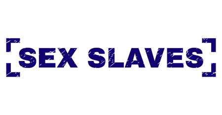 SEX SLAVES text seal print with corroded texture. Text caption is placed inside corners. Blue vector rubber print of SEX SLAVES with retro texture.