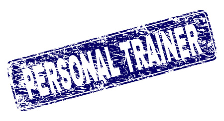 PERSONAL TRAINER stamp seal print with grunge style. Seal shape is a rounded rectangle with frame. Blue vector rubber print of PERSONAL TRAINER tag with grunge style. Çizim