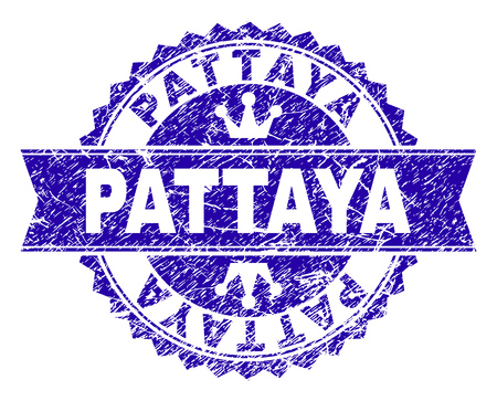 PATTAYA rosette stamp seal overlay with grunge texture. Designed with round rosette, ribbon and small crowns. Blue vector rubber watermark of PATTAYA text with grunge style.