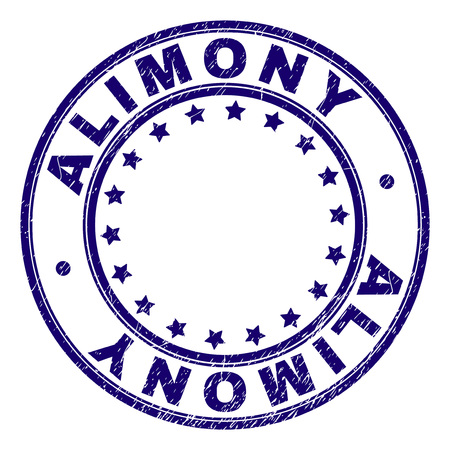 ALIMONY stamp seal watermark with grunge texture. Designed with circles and stars. Blue vector rubber print of ALIMONY label with dirty texture.