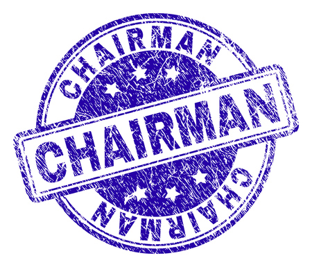 CHAIRMAN stamp seal imprint with grunge texture. Designed with rounded rectangles and circles. Blue vector rubber print of CHAIRMAN text with retro texture. Illusztráció