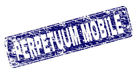 PERPETUUM MOBILE stamp seal print with grunge style. Seal shape is a rounded rectangle with frame. Blue vector rubber print of PERPETUUM MOBILE text with dust style.