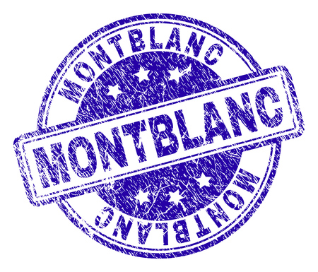 MONTBLANC stamp seal watermark with distress texture. Designed with rounded rectangles and circles. Blue vector rubber print of MONTBLANC text with retro texture.