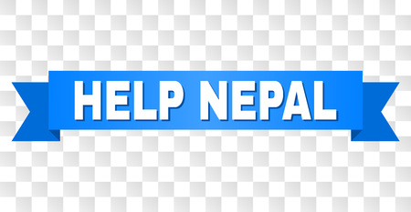 HELP NEPAL text on a ribbon. Designed with white caption and blue tape. Vector banner with HELP NEPAL tag on a transparent background. Illustration